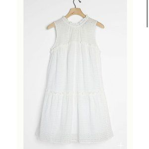 🆕Anthropologie White Eloisa Eyelet Swing Dress S